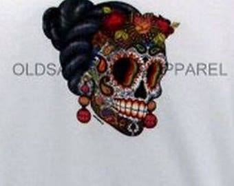 Day of The Dead Skull  Womens LONG SLEEVE Black T Shirt 18371