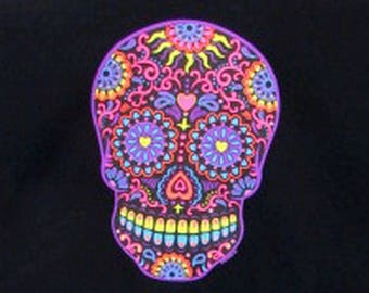Womens TANK TOP Day of the Dead  Black Sugar Skull Choose Size and Color 17459