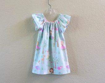 New! Girls Fairy Dress - Blue Flannel Dress with Fairies and Woodland Animals - Girls Blue Flutter Sleeve Dress - Size 12m through Size 8