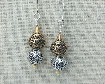 Earrings Mixed Metal Sterling Silver and Bronze Filigree with Sterling Wires