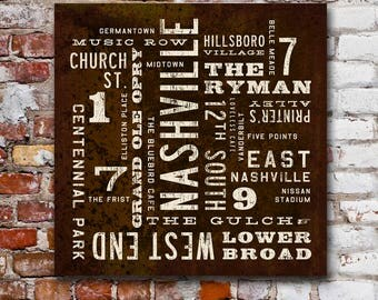 NASHVILLE Art, Rustic Wall Art, Nashville Poster, City Art, Nashville Sign, Canvas Wall Decor, Nashville Print, Word Art, Southern Decor.