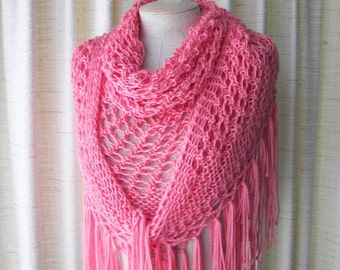 STRAWBERRY: Hand Knit Shawl Triangle Scarf Fringes in SOFT Acrylic /  Bridal Shawl / Romantric Gift / Ready to Ship
