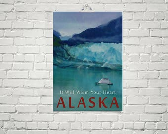 Alaska Glacier Bay Travel Poster 18x24 Size Vintage Style Nature Art Alaskan Art Turquoise Blue Art Poster