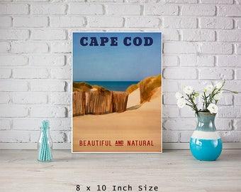 Cape Cod 8x10 Art Print Poster Vintage Style Travel Poster Beach House Art Sea Landscape