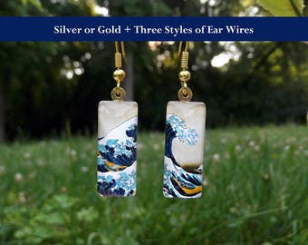 Great Wave earrings, Hokusai earrings, small glass earrings, classic art earrings, Great Wave off Kanagawa