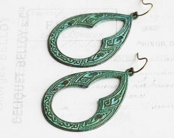 Large Verdigris Green Patina Keyhole Teardrop Earrings on Antiqued Brass Hooks (Hand Patina)