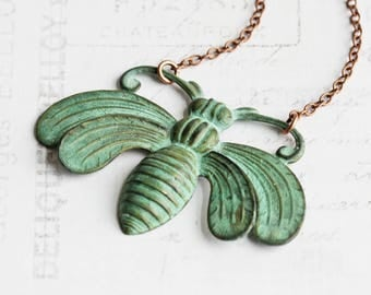 Large Aged Green Patina Bee Pendant Necklace on Antiqued Copper Plated Chain