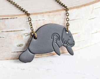 Manatee Necklace, Black Ox Patina Pendant on Antiqued Brass Chain, Animal Lover Gift, Hand Patina Jewelry