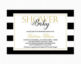Black and Gold Stripe Baby Shower Invitation, Gold Glitter, Gender Neutral Baby Shower, Personalized, Printable or Printed