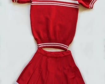 Vintage 1960s Girls/Teens Red and White Cheerleader Sweater and Skirt Set Junior Varsity Size Extra Small/Small Bust 30 Waist 22