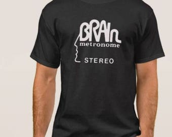 Brain Records     T shirt screen print short sleeve     shirt cotton