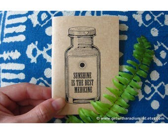 Sunshine Notebook 56 - Mini Travel Size - Sunshine is the Best Medicine Quote Travel Pocket Notebook