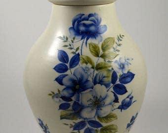 Blue and White Porcelain Urn/ Porcelain Jar/ Blue and White Lidded Jar/ Ceramic Jar/ Urn/ Memorial Urn/ Handmade Urn