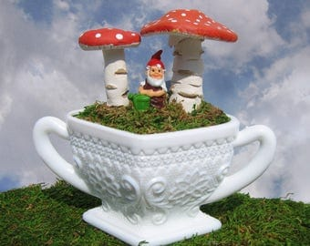 Handmade Vintage Paperclay Mushrooms in Vintage Milk Glass Bowl with a Tiny Gnome