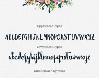 Digital Fonts 80% Off SALE Blushingly Typeface Fonts - Wedding Fonts - Hand Painted Script - Valentines Day - Heart swashes