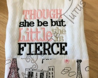 Though she be but little she is fierce, baby burpies, girls burp cloths, baby burp cloths, baby burp cloths, mommy to be, baby shower gift,