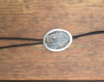 Handcrafted Prehistoric-Bolo Tie with Labodorite Stone in Solid Sterling Silver