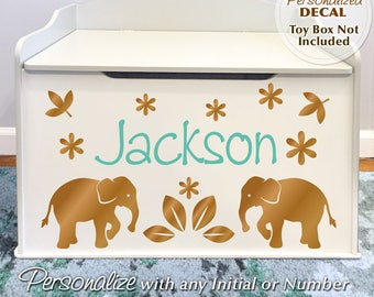 Elephants Personalized Toy Box Decal: Custom Name for Baby Nursery Decor, Toy Chest Removable Safari / Zoo Animals Decals (0179c27v)