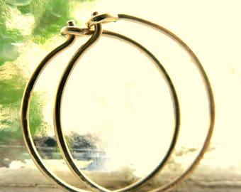 Large Hoop Earrings 14k Yellow Gold Classic Modern Timeless Handmade
