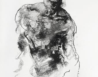 """Gestural and Expressive Portrait Drawing - Drawing 468 - 9 x 12"""" charcoal and pastel on paper - original drawing by Derek Overfield"""