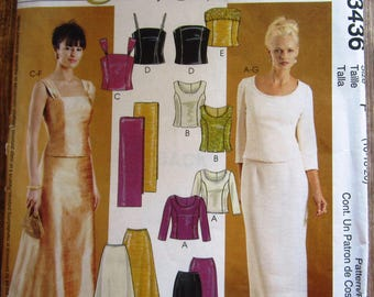 Misses Formal Lined Tops with Princess Seams, Skirts and Stole Sizes 16 18 20 Evening Elegance McCalls Pattern 3436 UNCUT