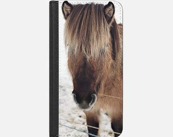Icelandic horse iPhone RFID wallet case in four choices of image