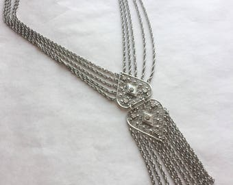 5 Strand 1970s Tassel Necklace with Multi Strands and Filigree