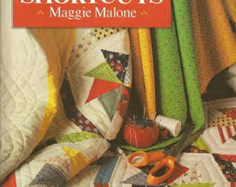 1980s Quilting Shortcuts by Maggie Malone Hardback Book Dustjacket Tips Patterns Diagrams Vintage Quilting Book