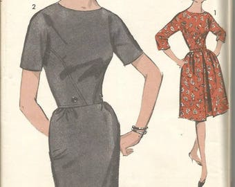 1960s Sheath Slim or Full Skirt Dress Sleeve Variations Advance 3025 Uncut FF Size 18 Bust 38 Women's Vintage Sewing Pattern