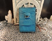 Mythical Beast Book-Refillable (Mini notebook Blue leather with Gold eye)