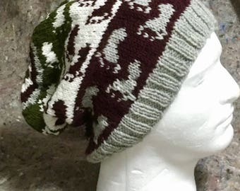 Footprint hat hand knit with olive and maroon wool