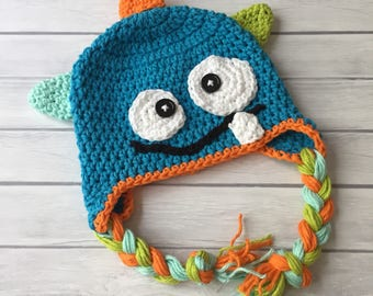 Crochet monster hat, monster costume, halloween costume, newborn photo prop, toddler monster hat, baby halloween costume, monster beanie