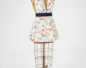 Sexy Women's Apron Marilyn Blue Floral
