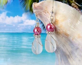 White teardrop tumbled sea glass beads rose pearl beach earrings