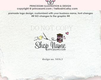 1416-3 Spool of Thread Logo Design, sewing logo design, bird and sew, boutique logo, handmade shop logo