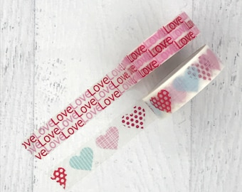 Love heart washi duo #1 - Valentine's Day wedding happy masking tape planner scrapbook journal craft swap mail stationery - Lillibon
