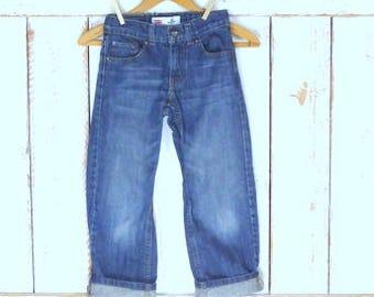 Kids/childrens straight leg Levis 505 dark blue denim jeans/Levi Strauss jeans/7 regular