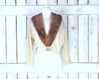 Vintage 50's ivory/cream cashmere brown mink fur collar cropped cardigan sweater/short mink fur collar wool cardigan sweater