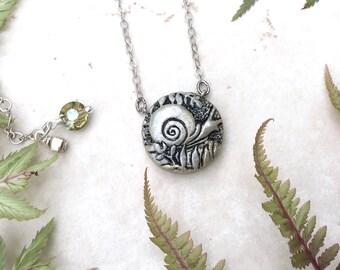 Snail Necklace, Gold Snail Charm, Fern Necklace, Forest Jewelry, Snail Jewellery, Silver Snail Pendant, Garden Jewelry, Snail Lover Gift