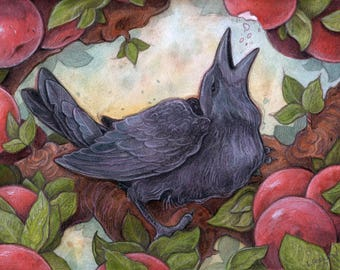 Crow in Apple Tree....Giclee Fine Art Print