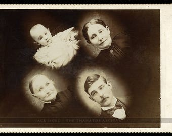 unusual cabinet card four ghostly figures spirit photography or memorial photo?