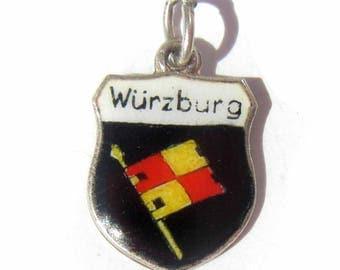 Würzburg Germany Charm, Enamel Shield Charm, Bavaria Souvenir, Sterling Silver 800 Silver Charm, Würzburg Flag, Coat of Arms