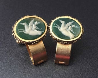 Dante Pegasus Cuff Links Museum Masterpiece Collection Green Cameo Incolay Carved Cupid on Pegasus Horse, Wrap Around Cufflinks