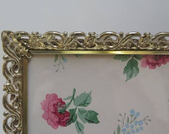 White Washed Brass Vintage 8 x 10 Filigree Picture Frame / Easel Back