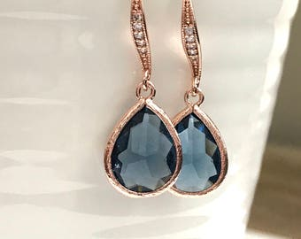 Rose Gold earrings, Rose Gold wedding earrings, bridesmaid Earrings, Rose gold and blue earrings,  Bridesmaid gift, sapphire earrings