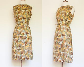 vintage 1960s abstract print cotton day dress / 60 paint strokes sleeveless afternoon dress with belt / M