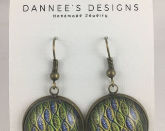 African Wax Print Glass Drop Earrings