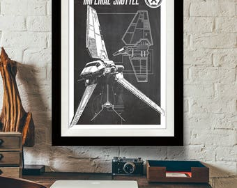 Star Wars Art - Imperial Shuttle - Patent Print, Star Wars Poster, Art Print, Star Wars Patent Art, Fan Art, Star Wars Gift, Industrial