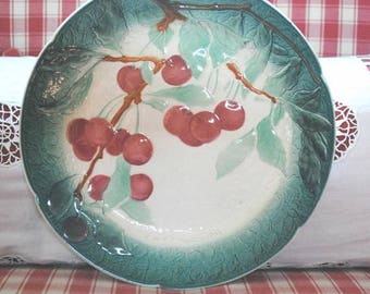 Antique French Majolica BARBOTINE Plate CHERRIES LUNEVILLE