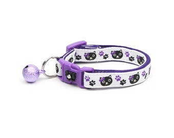 Purple Cat Collar - Black Cats and Purple Pawprints - Small Cat / Kitten Size or Large Size